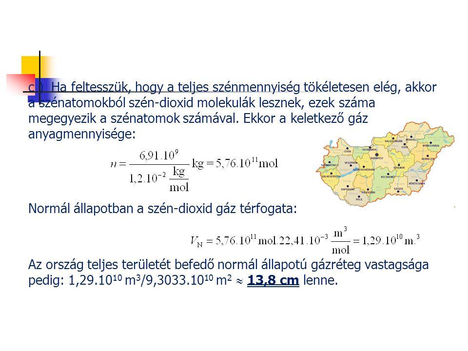 c ) Ha feltesszük, hogy a teljes szénmennyiség tökéletesen elég, akkor a szénatomokból szén-dioxid molekulák lesznek, ezek száma megegyezik a szénatomok számával. Ekkor a keletkező gáz anyagmennyisége: