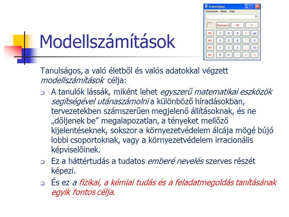 Modellszámítások Tanulságos, a való életből és valós adatokkal végzett modellszámítások célja: