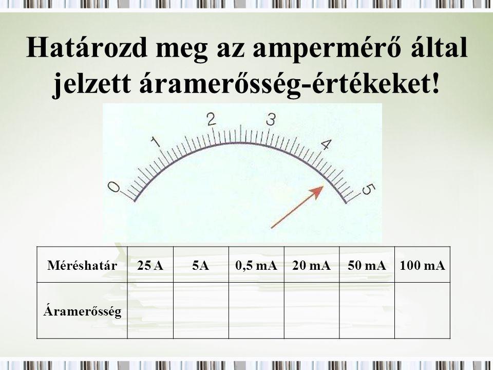 Határozd meg az ampermérő által jelzett áramerősség-értékeket!