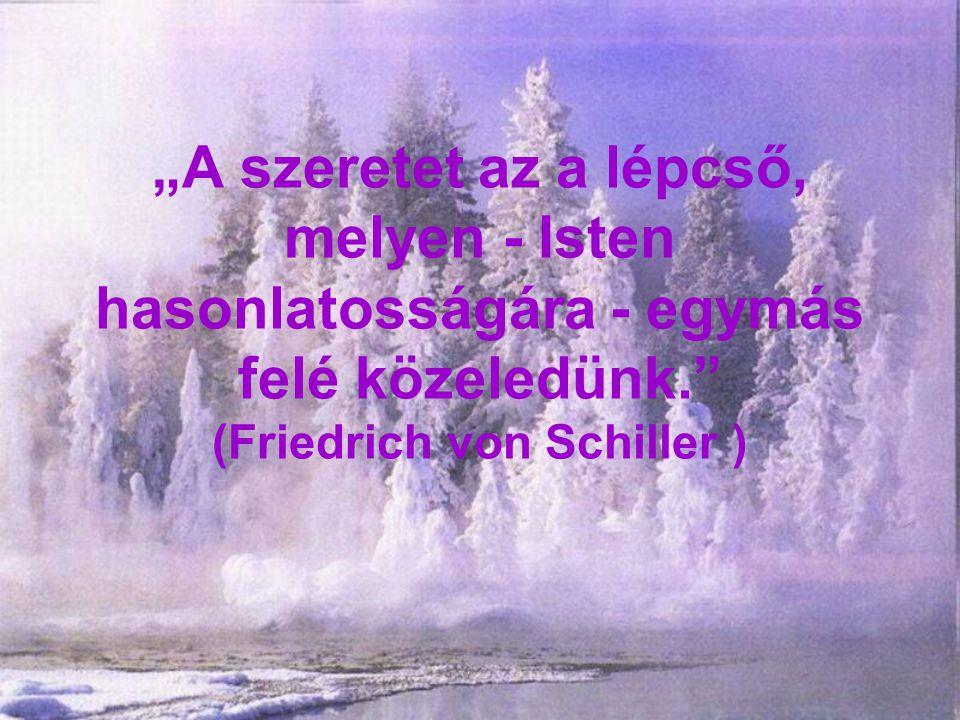 """""""A szeretet az a lépcső, melyen - Isten hasonlatosságára - egymás felé közeledünk. (Friedrich von Schiller )"""