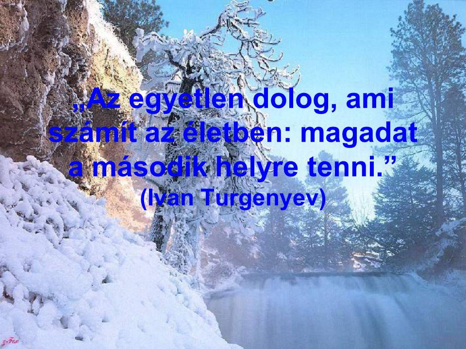 """""""Az egyetlen dolog, ami számít az életben: magadat a második helyre tenni. (Ivan Turgenyev)"""