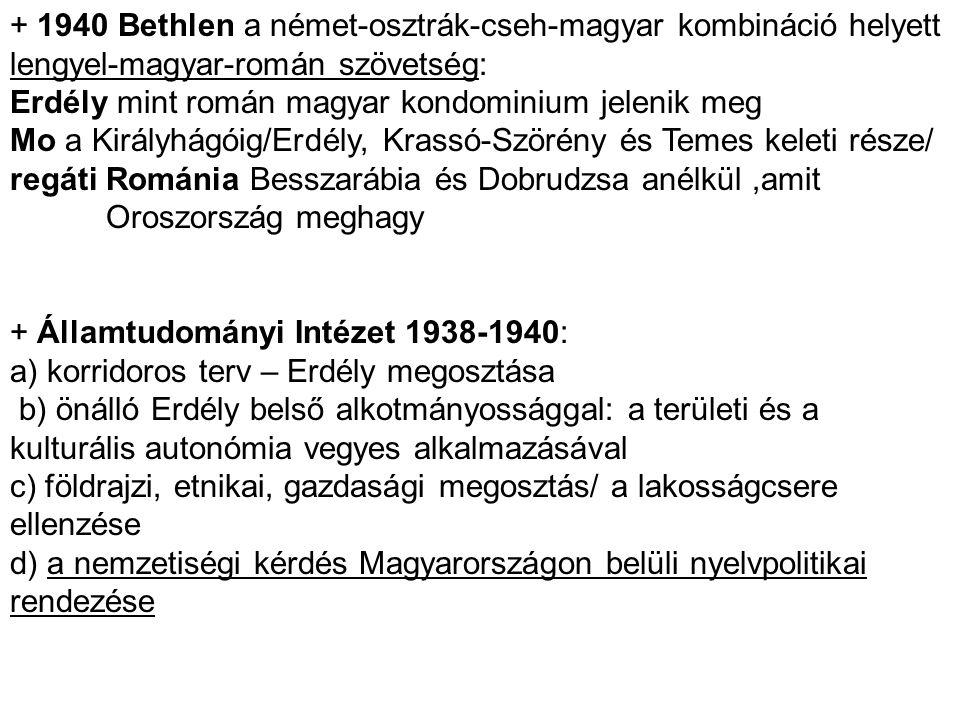 + 1940 Bethlen a német-osztrák-cseh-magyar kombináció helyett lengyel-magyar-román szövetség:
