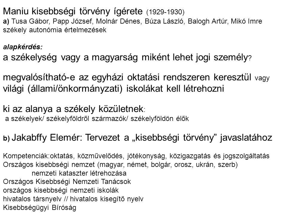 Maniu kisebbségi törvény ígérete (1929-1930)