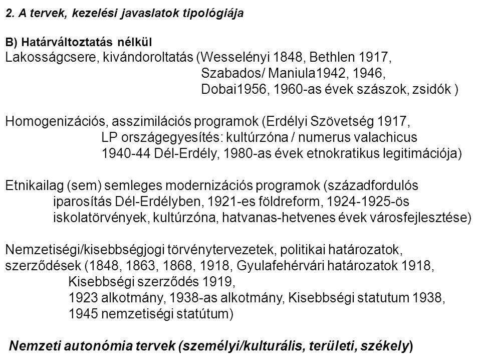 Lakosságcsere, kivándoroltatás (Wesselényi 1848, Bethlen 1917,