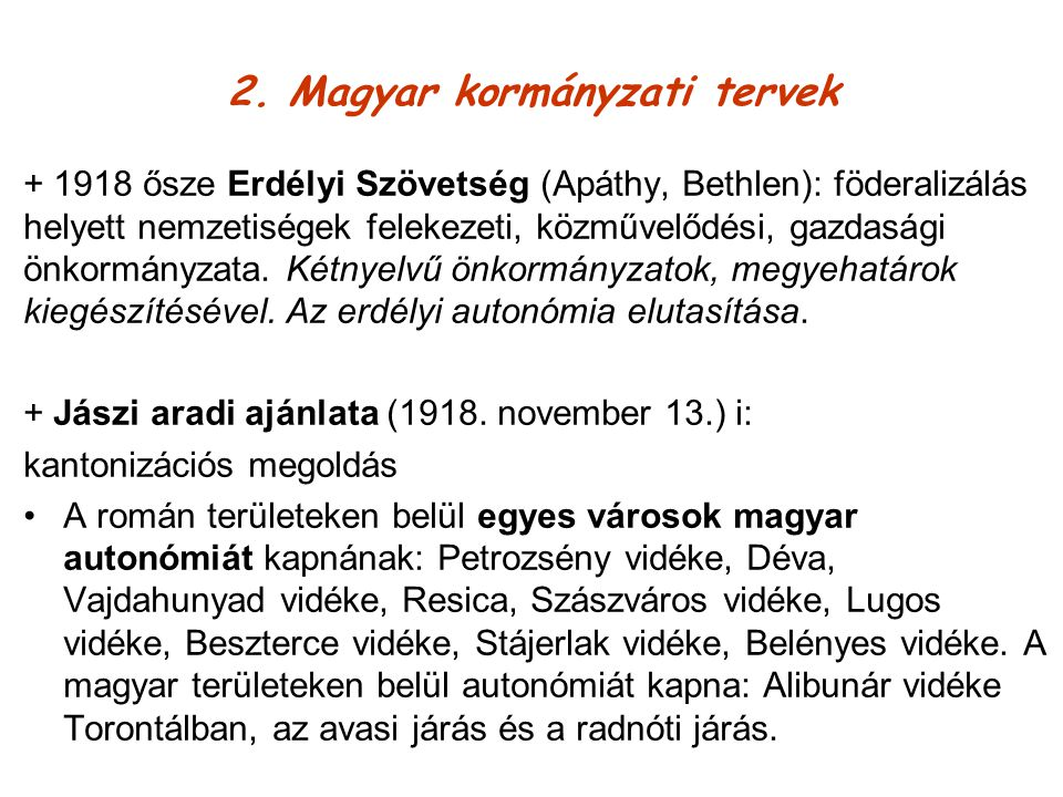 2. Magyar kormányzati tervek