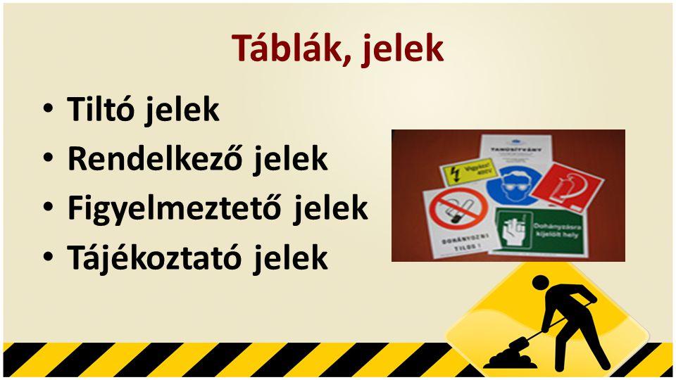 Táblák, jelek Tiltó jelek Rendelkező jelek Figyelmeztető jelek