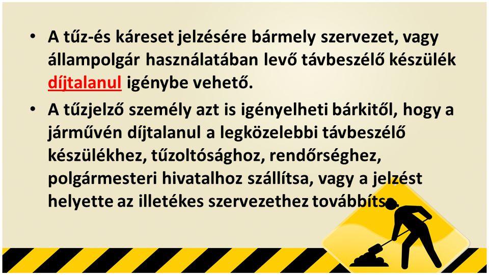 A tűz-és káreset jelzésére bármely szervezet, vagy állampolgár használatában levő távbeszélő készülék díjtalanul igénybe vehető.