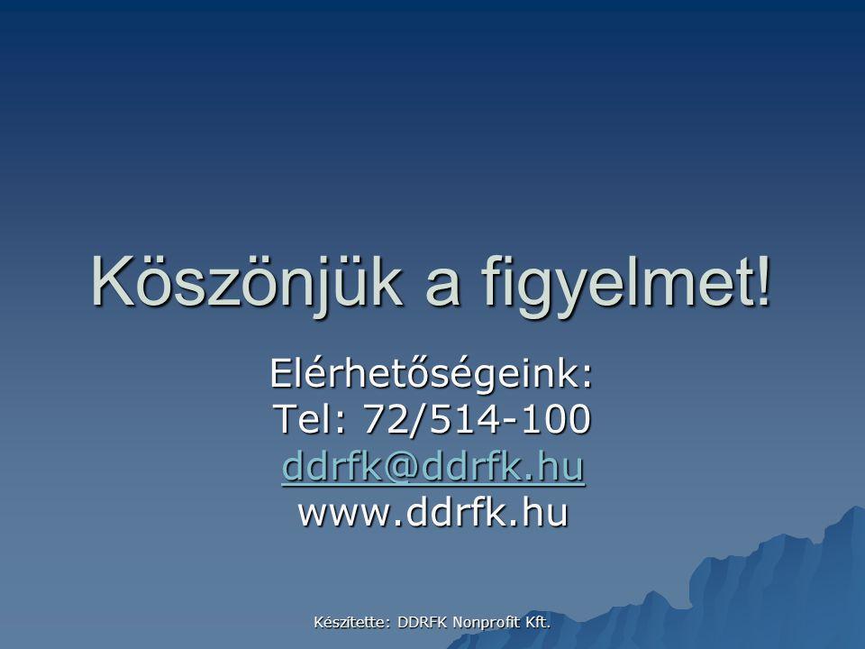 Elérhetőségeink: Tel: 72/514-100 ddrfk@ddrfk.hu www.ddrfk.hu