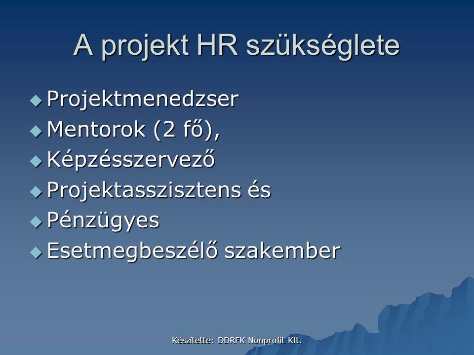 A projekt HR szükséglete