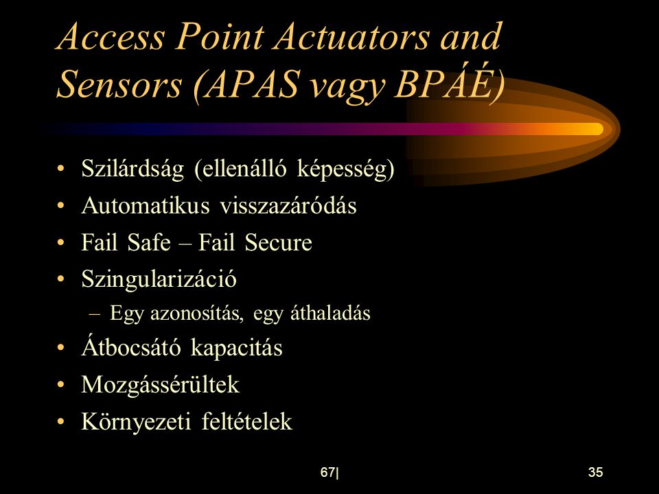 Access Point Actuators and Sensors (APAS vagy BPÁÉ)