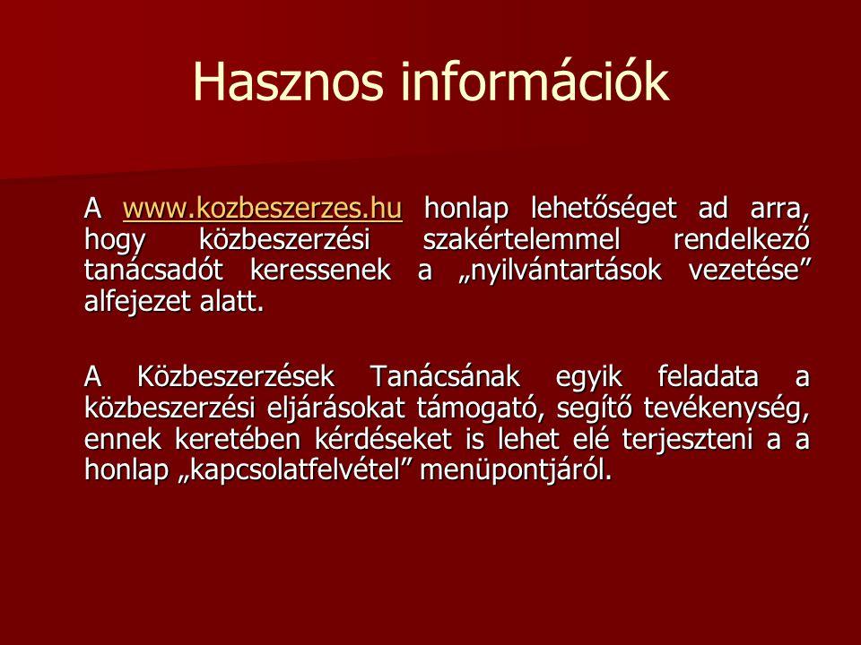 Hasznos információk