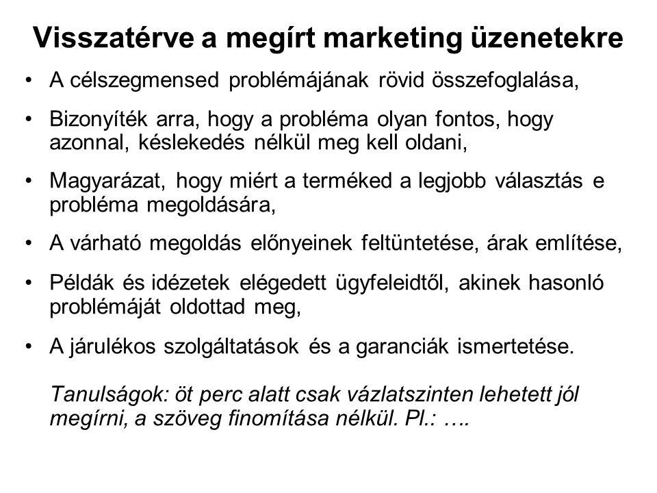 Visszatérve a megírt marketing üzenetekre