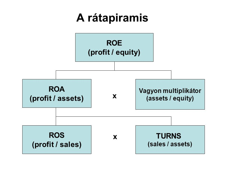 A rátapiramis ROE (profit / equity) ROA (profit / assets) x ROS TURNS