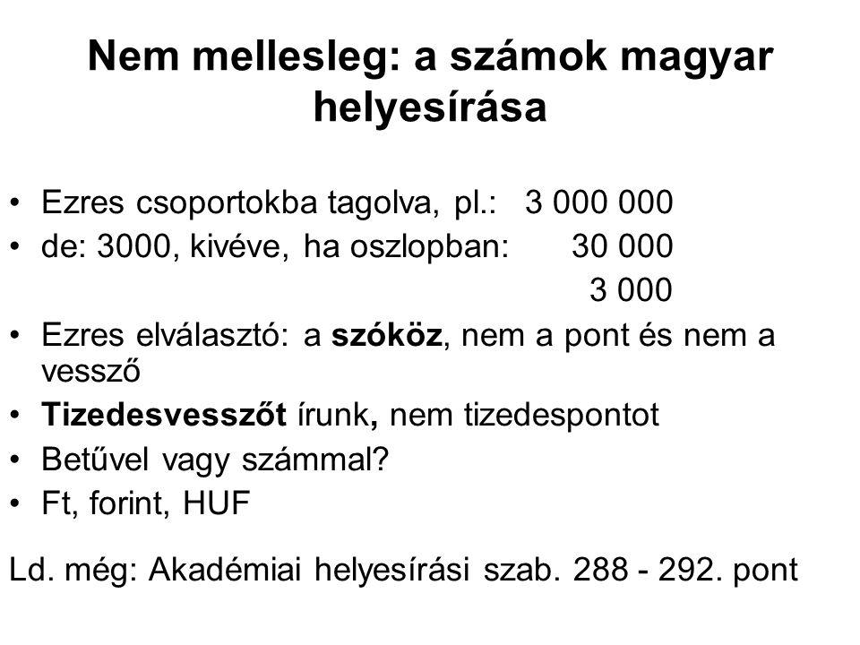 Nem mellesleg: a számok magyar helyesírása