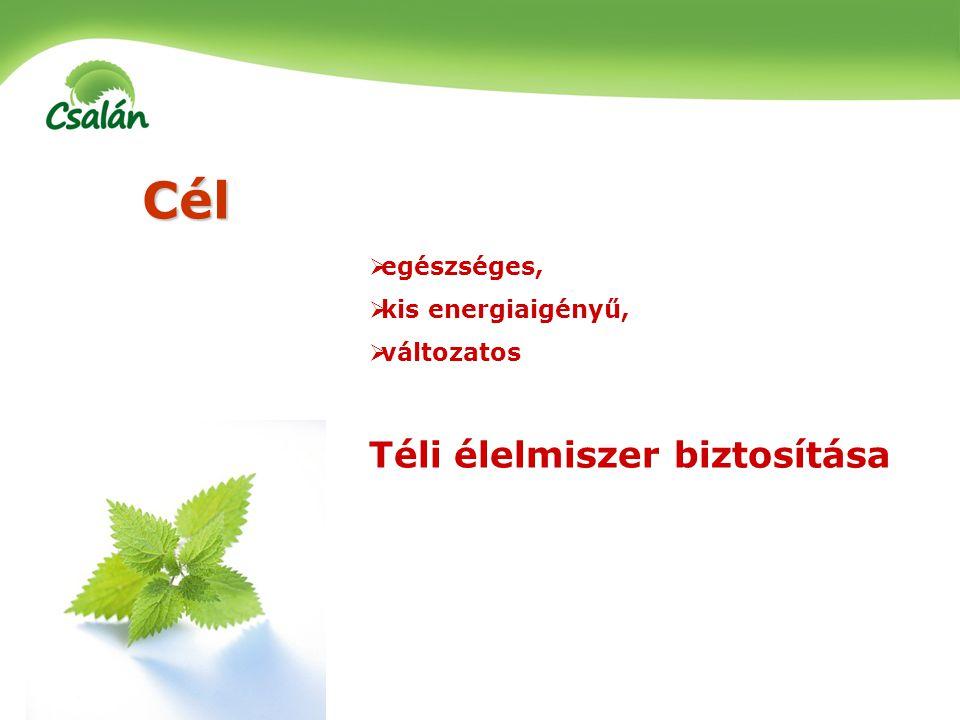 Cél Téli élelmiszer biztosítása egészséges, kis energiaigényű,