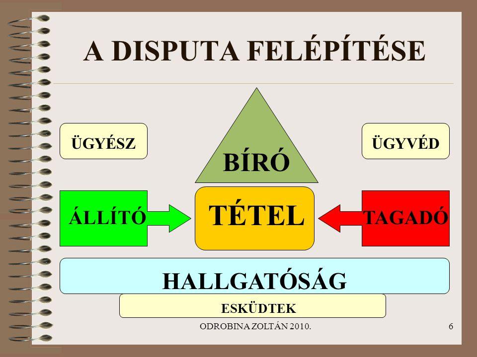 A DISPUTA FELÉPÍTÉSE TÉTEL