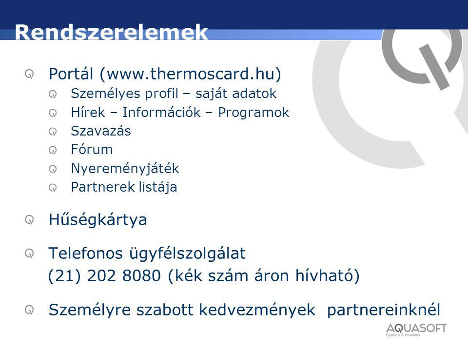 Rendszerelemek Portál (www.thermoscard.hu) Hűségkártya