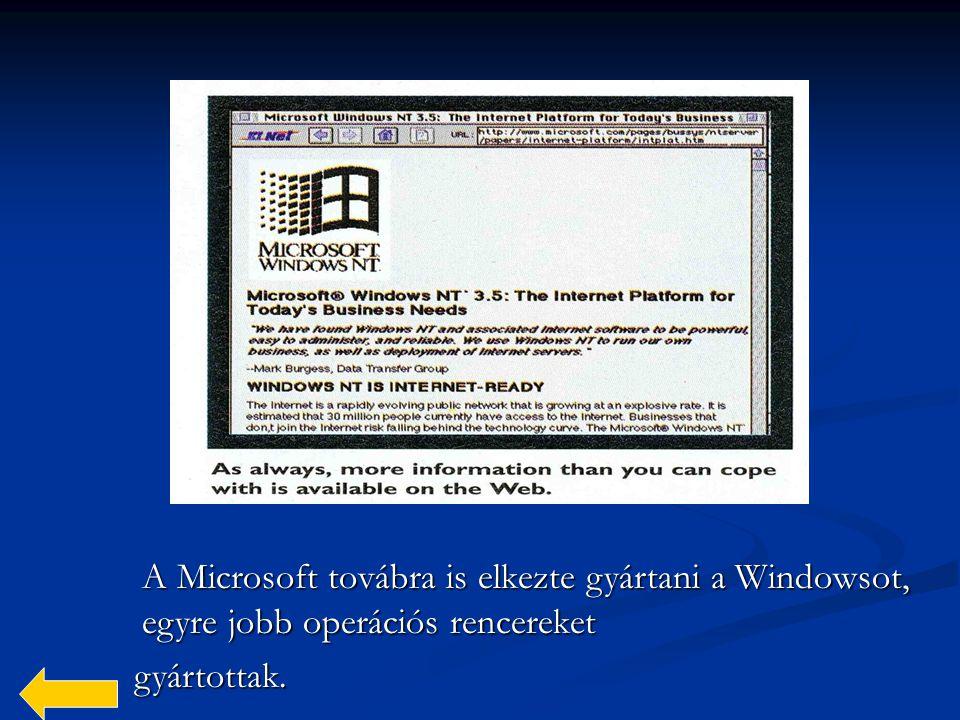 A Microsoft továbra is elkezte gyártani a Windowsot, egyre jobb operációs rencereket