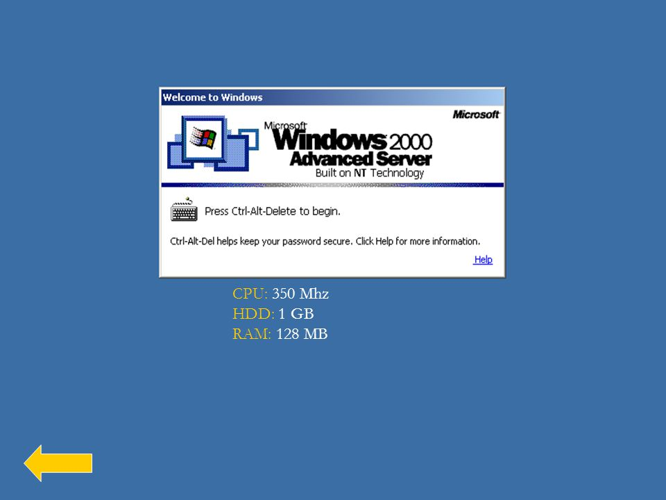 A Windows 2000 hardverigénye: