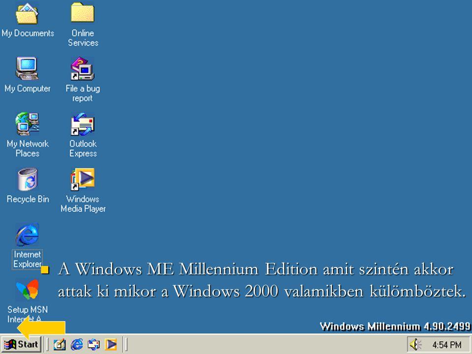 A Windows ME Millennium Edition amit szintén akkor attak ki mikor a Windows 2000 valamikben külömböztek.