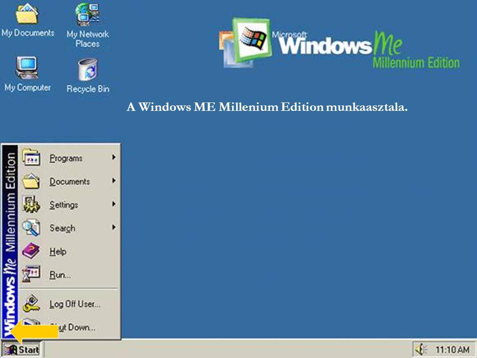 A Windows ME Millenium Edition munkaasztala.