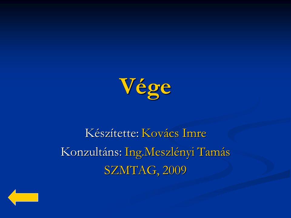 Készítette: Kovács Imre Konzultáns: Ing.Meszlényi Tamás SZMTAG, 2009