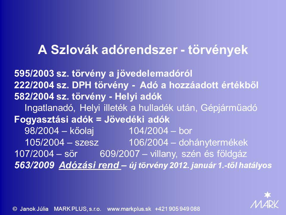 A Szlovák adórendszer - törvények