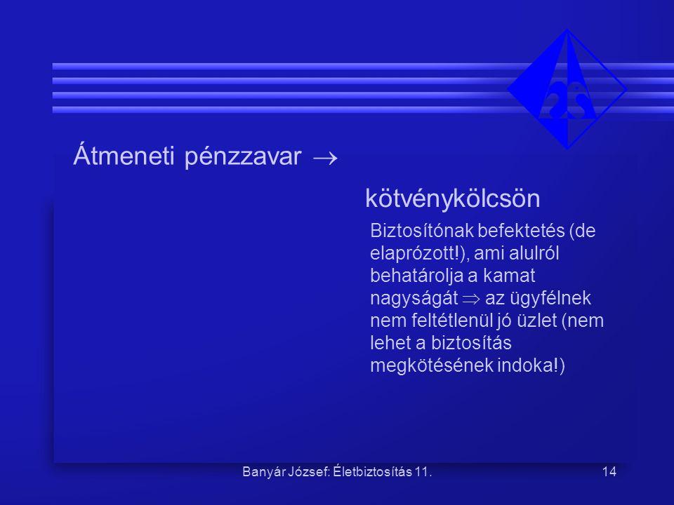 Banyár József: Életbiztosítás 11.