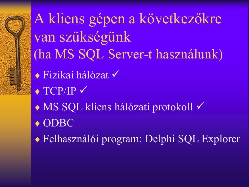 A kliens gépen a következőkre van szükségünk (ha MS SQL Server-t használunk)