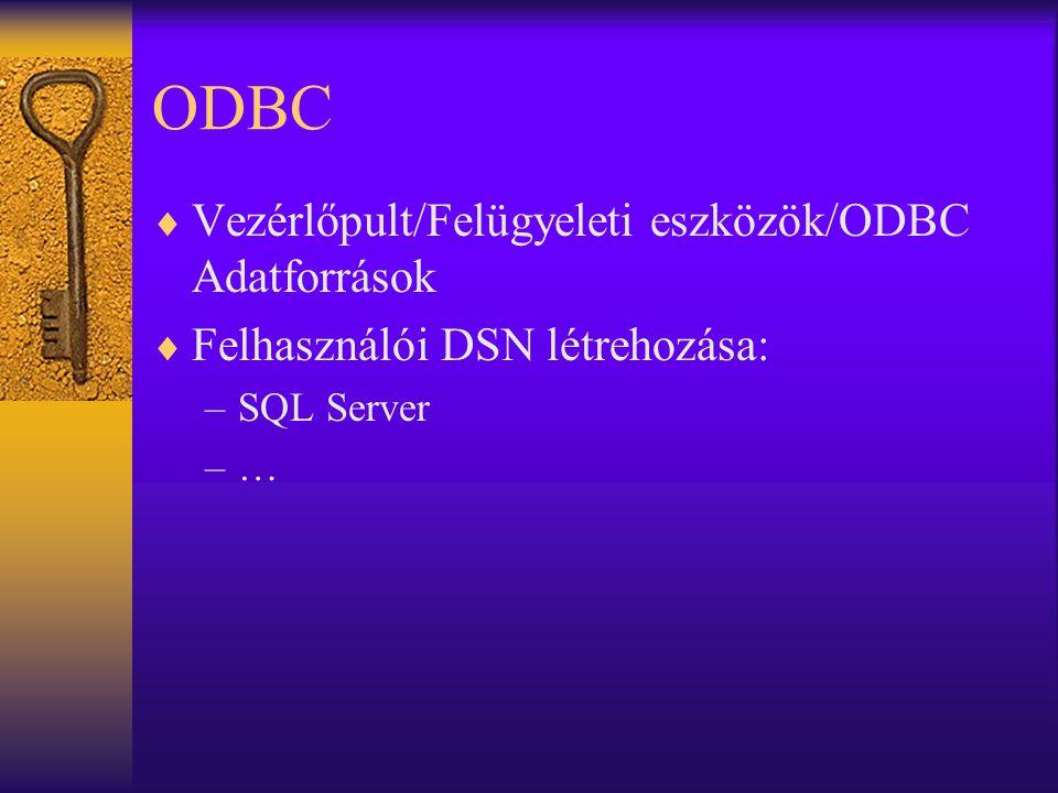 ODBC Vezérlőpult/Felügyeleti eszközök/ODBC Adatforrások