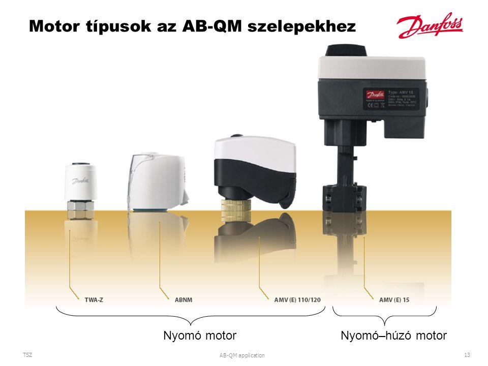 Motor típusok az AB-QM szelepekhez