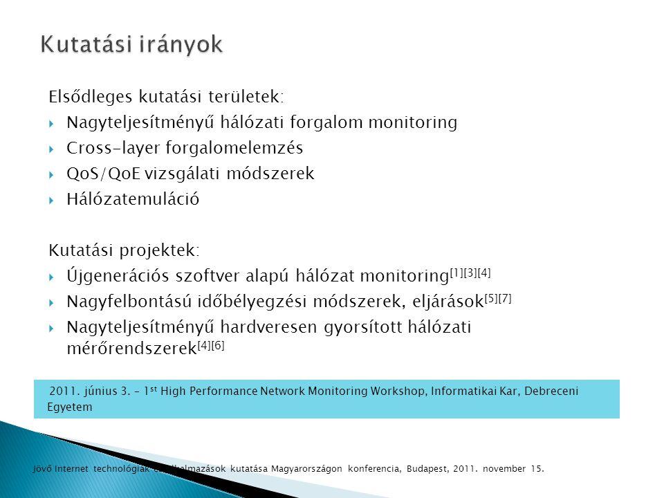 Kutatási irányok Elsődleges kutatási területek: