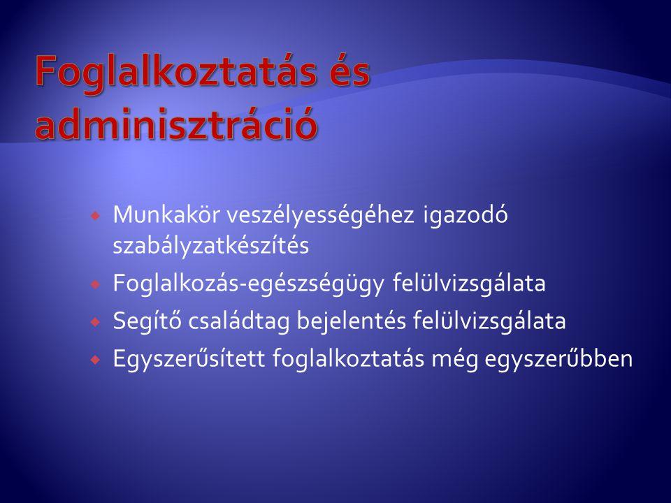Foglalkoztatás és adminisztráció