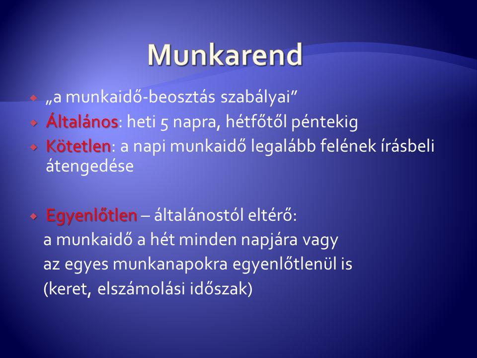 """Munkarend """"a munkaidő-beosztás szabályai"""