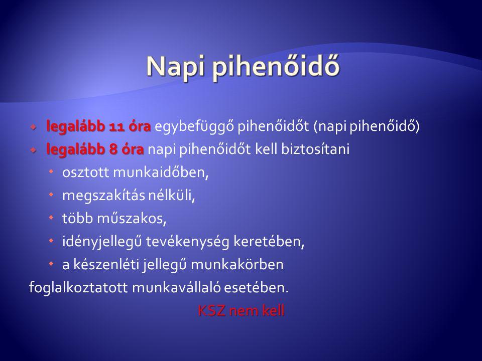 Napi pihenőidő legalább 11 óra egybefüggő pihenőidőt (napi pihenőidő)