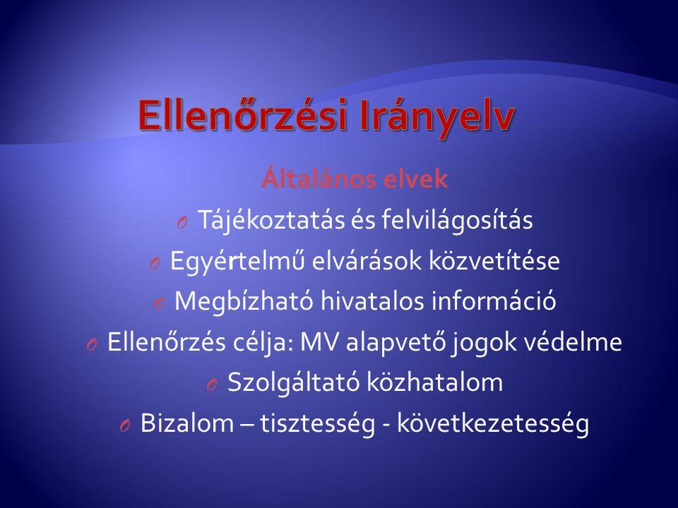 Ellenőrzési Irányelv Általános elvek Tájékoztatás és felvilágosítás