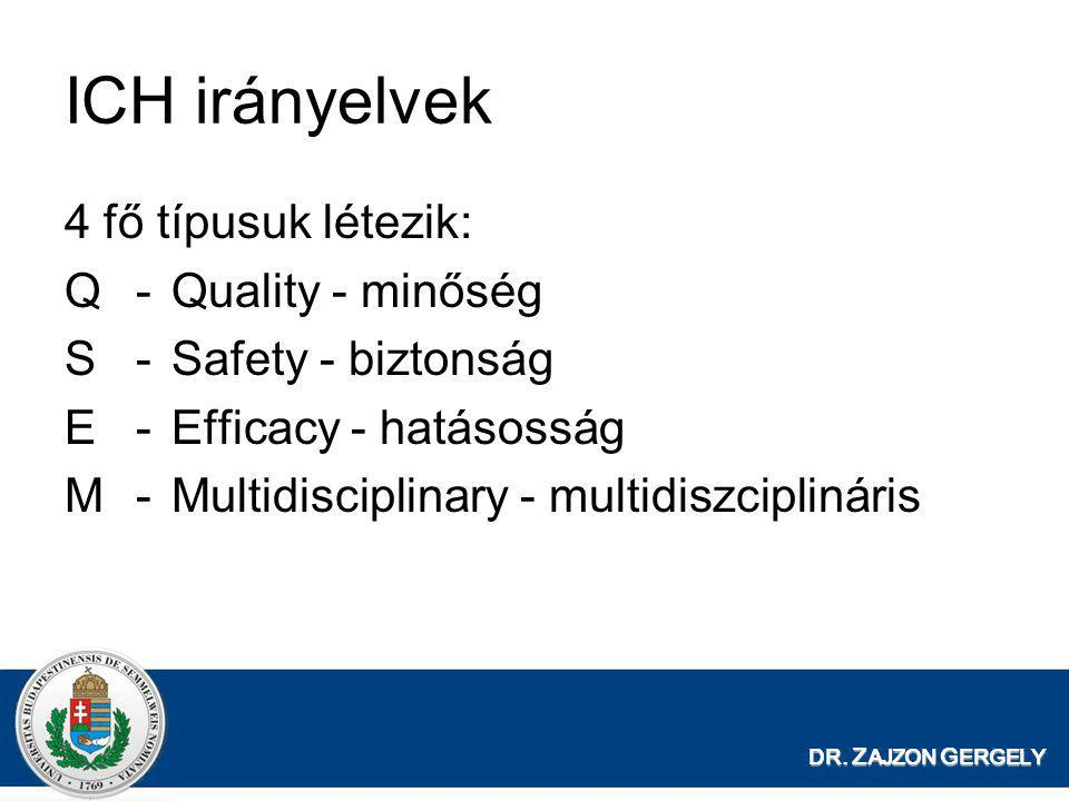 ICH irányelvek 4 fő típusuk létezik: Q - Quality - minőség