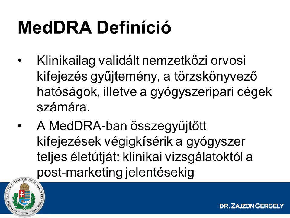 MedDRA Definíció Klinikailag validált nemzetközi orvosi kifejezés gyűjtemény, a törzskönyvező hatóságok, illetve a gyógyszeripari cégek számára.