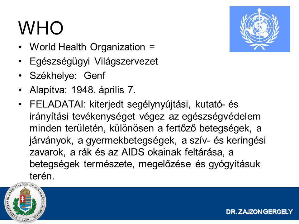 WHO World Health Organization = Egészségügyi Világszervezet
