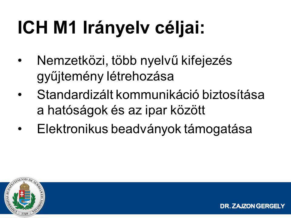 ICH M1 Irányelv céljai: Nemzetközi, több nyelvű kifejezés gyűjtemény létrehozása.