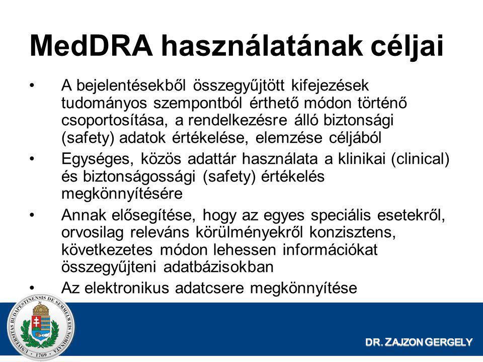MedDRA használatának céljai