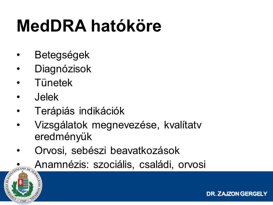 MedDRA hatóköre Betegségek Diagnózisok Tünetek Jelek