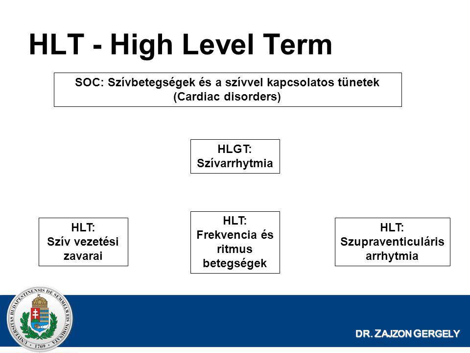 HLT - High Level Term SOC: Szívbetegségek és a szívvel kapcsolatos tünetek (Cardiac disorders) HLGT: Szívarrhytmia.