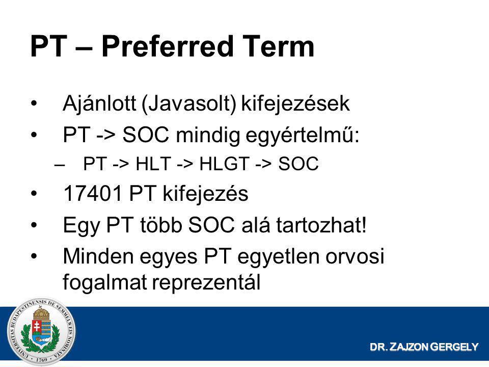 PT – Preferred Term Ajánlott (Javasolt) kifejezések