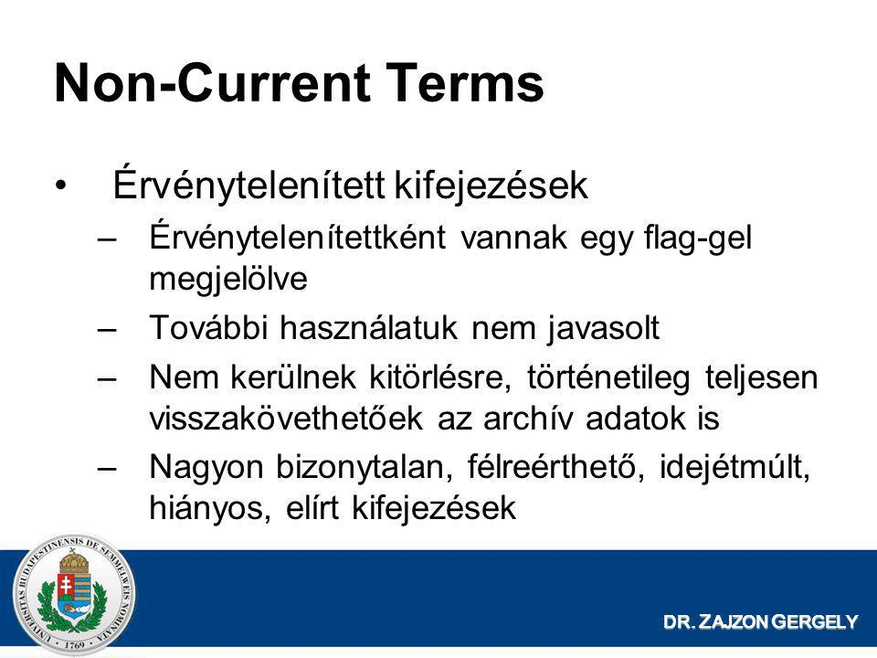 Non-Current Terms Érvénytelenített kifejezések