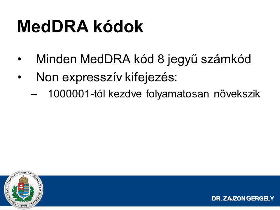 MedDRA kódok Minden MedDRA kód 8 jegyű számkód