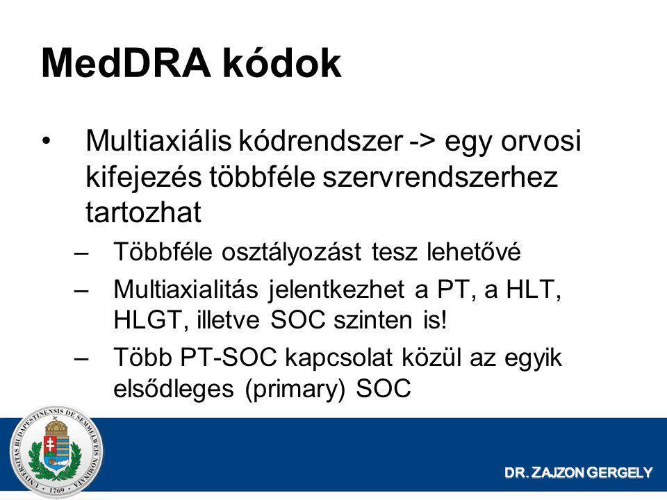 MedDRA kódok Multiaxiális kódrendszer -> egy orvosi kifejezés többféle szervrendszerhez tartozhat. Többféle osztályozást tesz lehetővé.