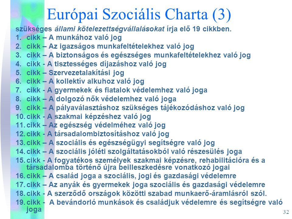 Európai Szociális Charta (3)