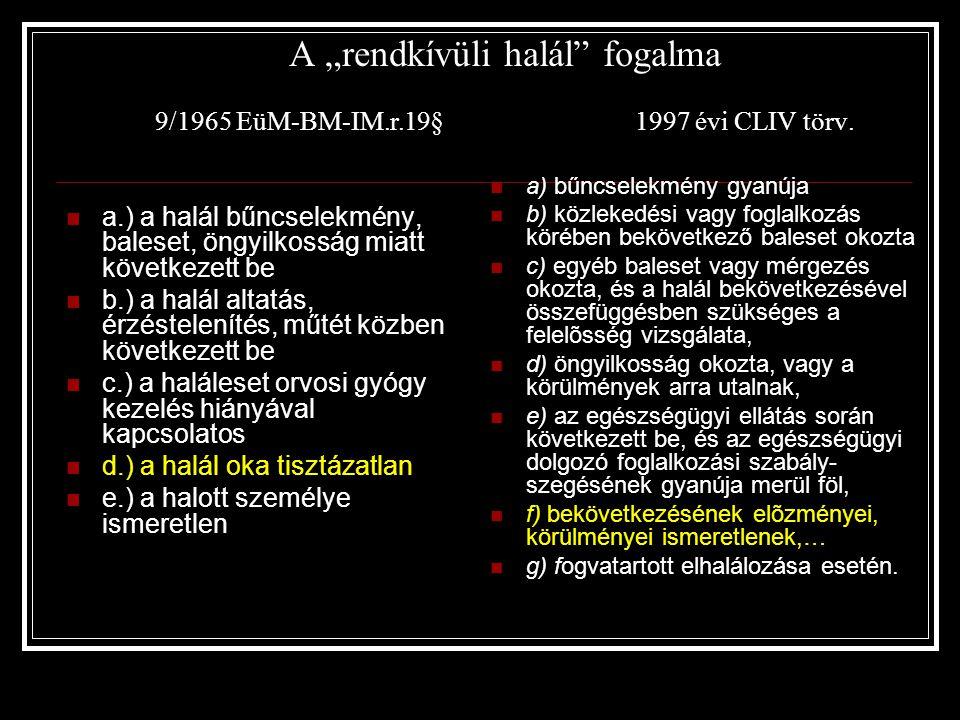 """A """"rendkívüli halál fogalma 9/1965 EüM-BM-IM. r. 19§"""