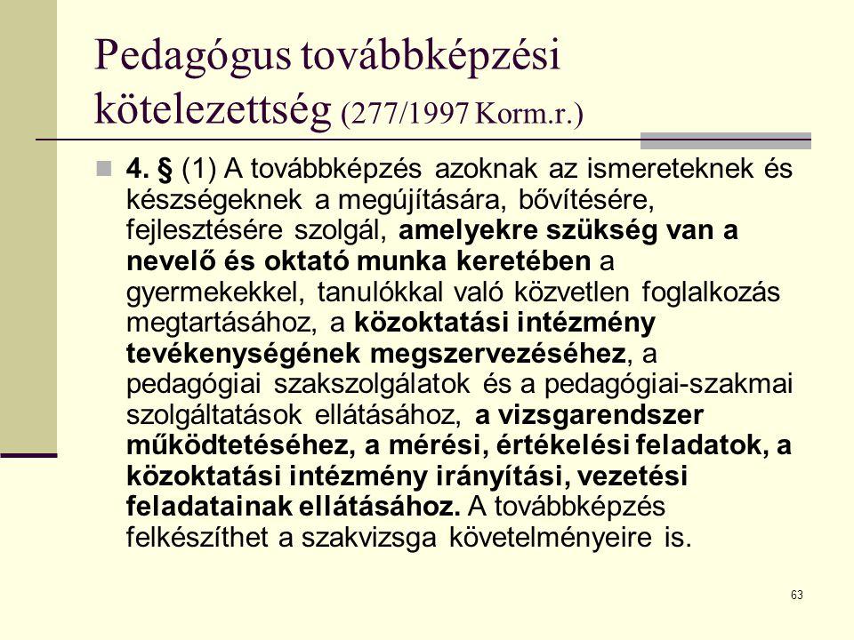 Pedagógus továbbképzési kötelezettség (277/1997 Korm.r.)